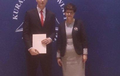 Kacper Borowicz-stypendystą Prezesa Rady Ministrów w roku szkolnym 2017/2018