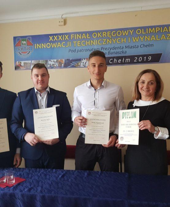 Uczniowie ZST w Chełmie zakwalifikowani do finału ogólnopolskiego Olimpiady Innowacji Technicznych i Wynalazczości